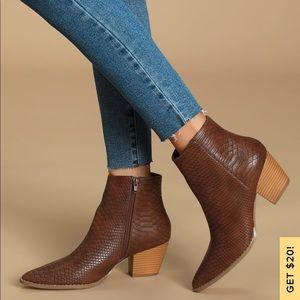 Lulu's X Matisse Spirt Dark Brown Snake Ankle Boot